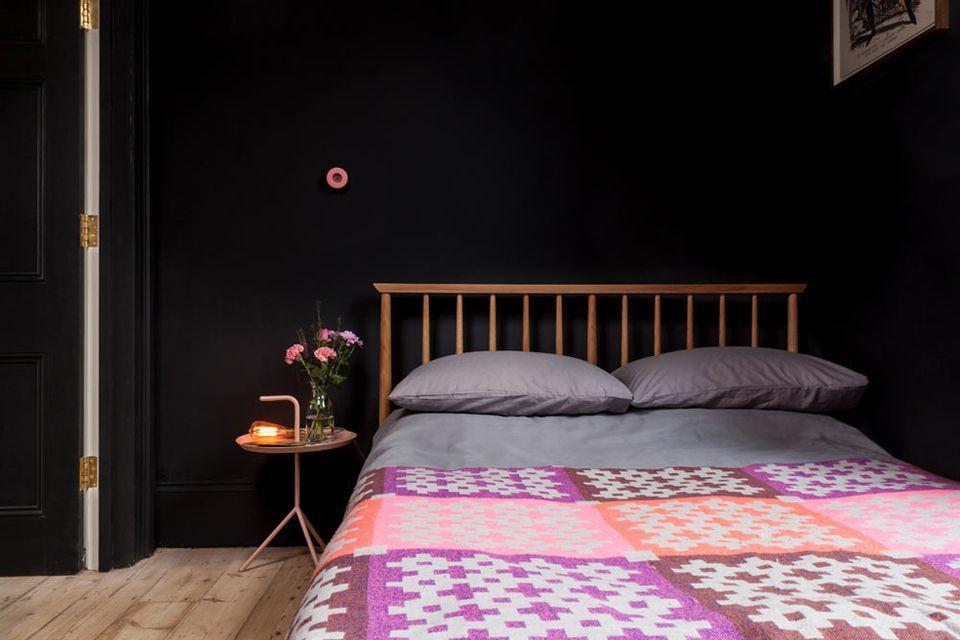 colorful black bedroom
