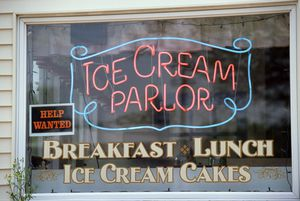 Ice cream parlor window and sign