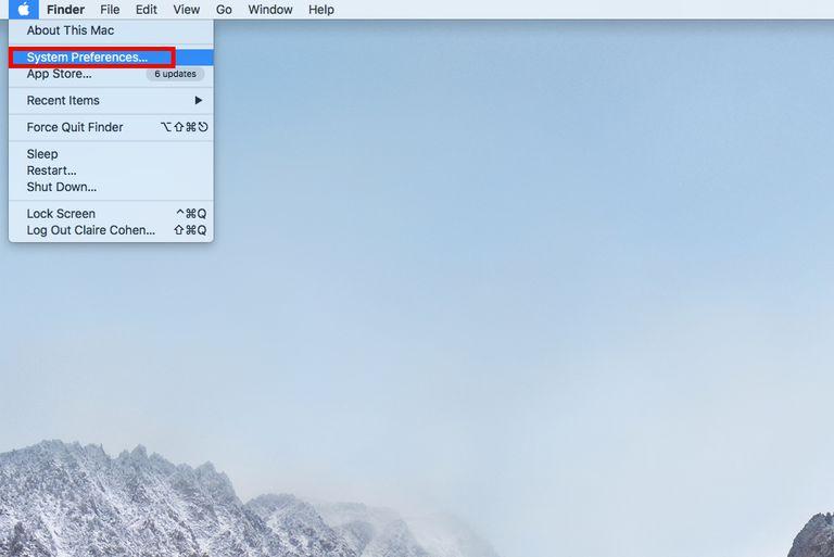 System Preferences in Apple menu