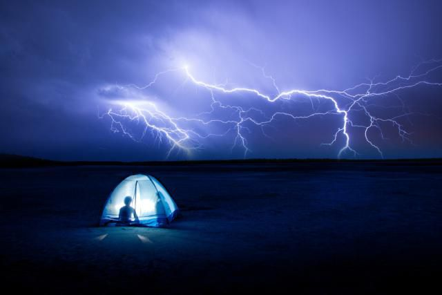 Lightning over a tent