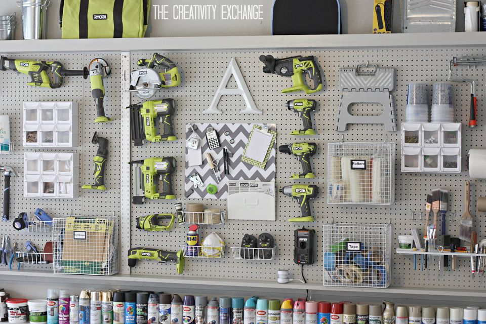 DIY Garage Peg Board Wall from the Creativity Exchange