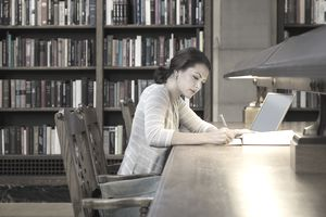 University student in library