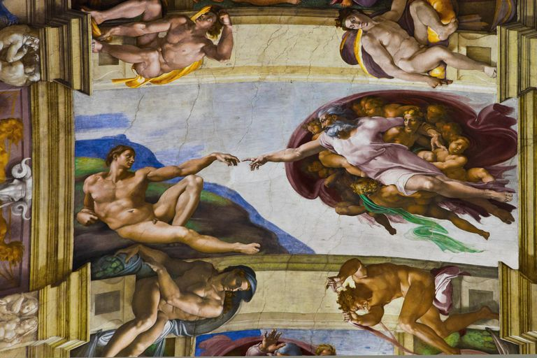 Painting on ceiling of the Sistine Chapel
