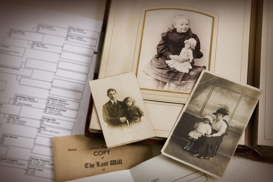vintage family photo album and documents