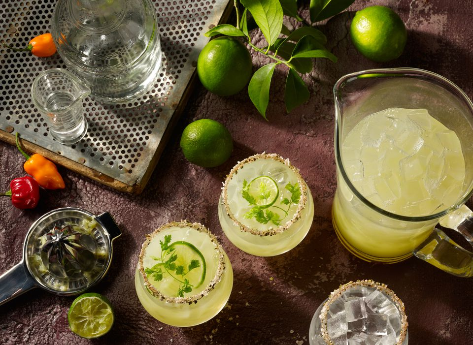 An overhead view of margarita preparation