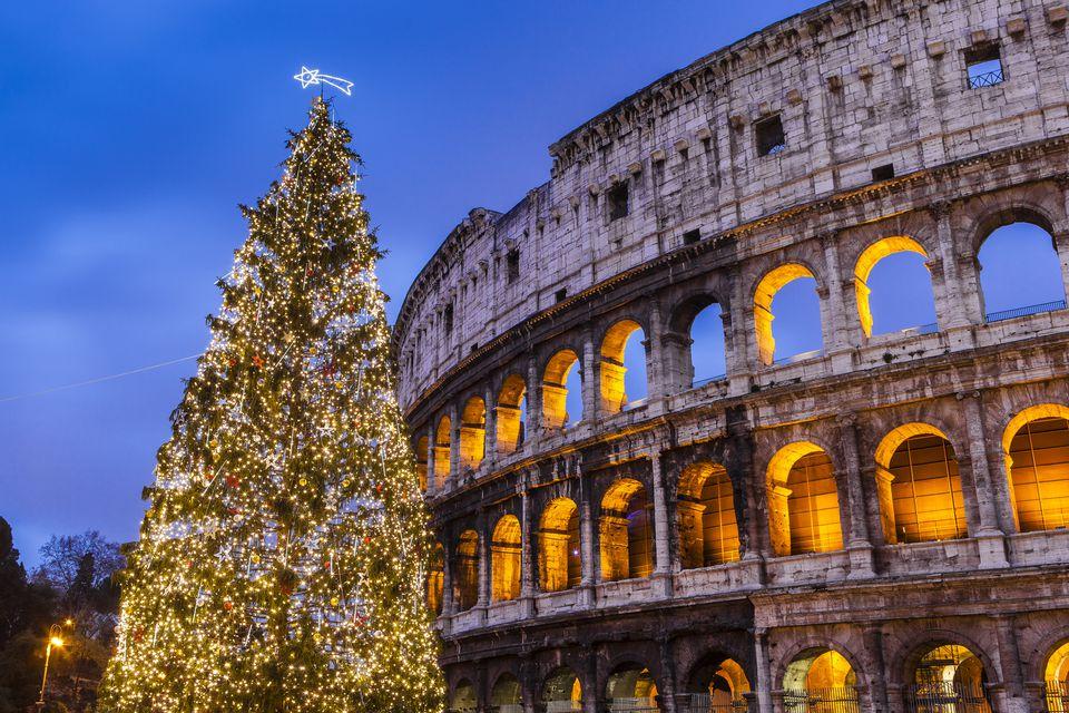 Christmas tree at Colosseum at dusk