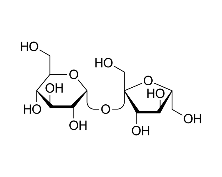 This is the chemical structure of sucrose.