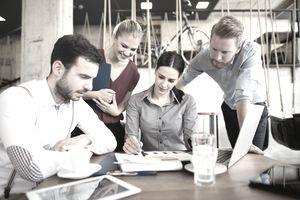 Team working at startup
