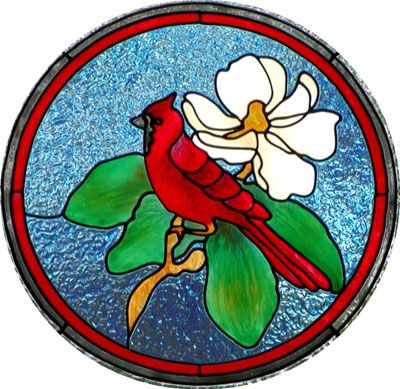 Painted faux stained glass project -- Cardinal and magnolia