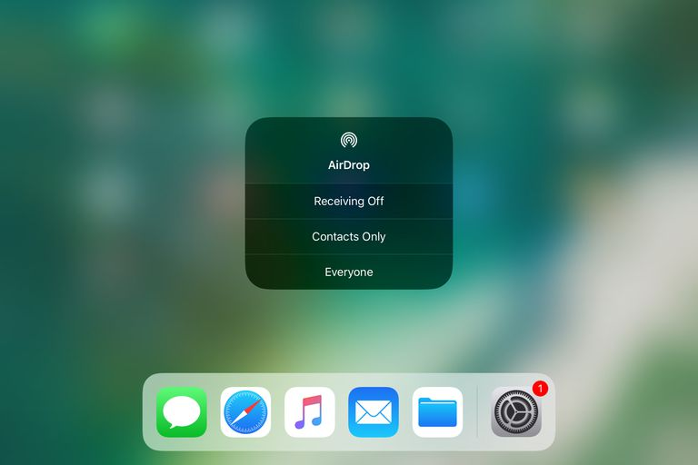 AirDrop in iOS 11 control center