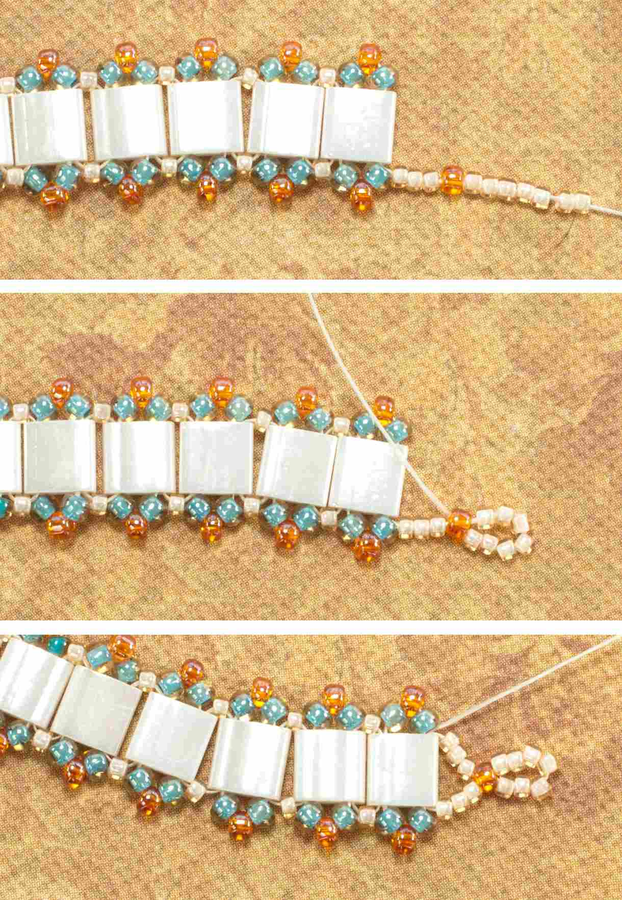 with netting beaded michaels bracelet turquoise beads a pin the tila horizontal picot completed pattern clasp edges sand