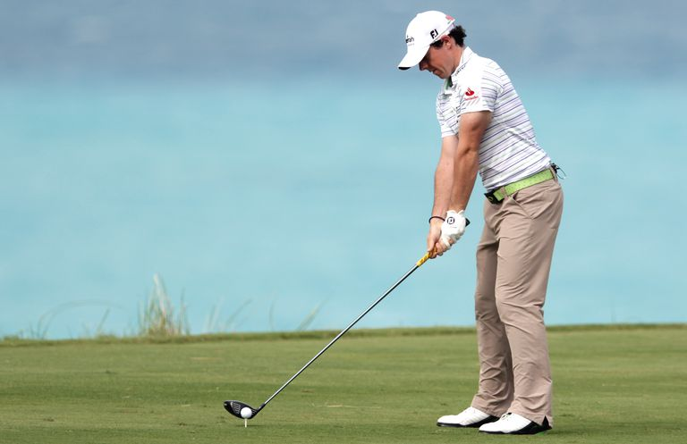 Rory McIlroy in his setup position, or address position