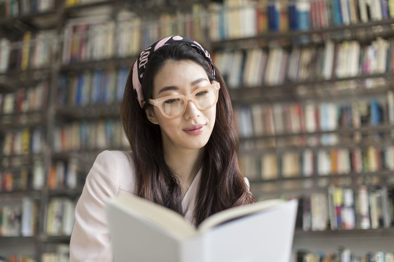 Woman actively reading