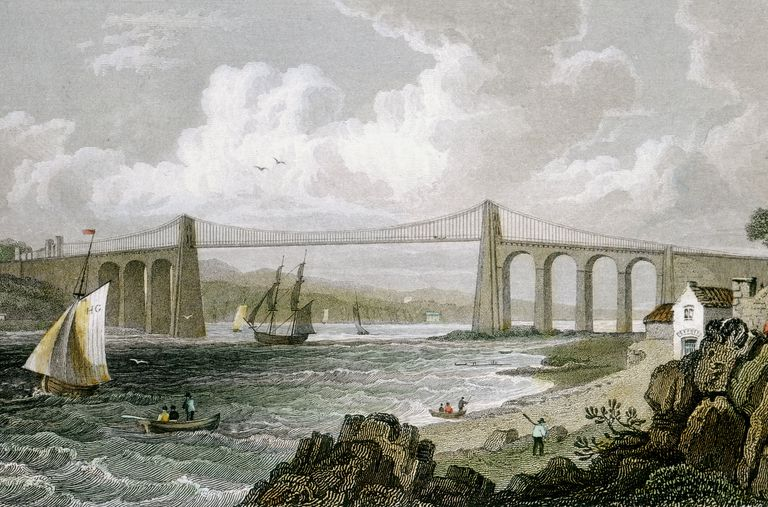 Lithograph of the Menai Suspension Bridge
