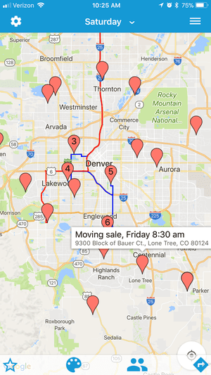 Setting a route with the garage sale finder app, Yard Sale Treasure Map