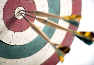 Three darts in a bullseye