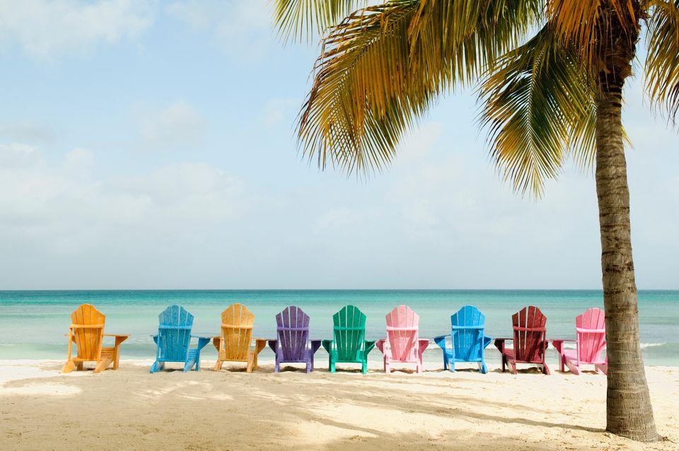 Sun loungers on Palm Beach, Aruba, Lesser Antilles