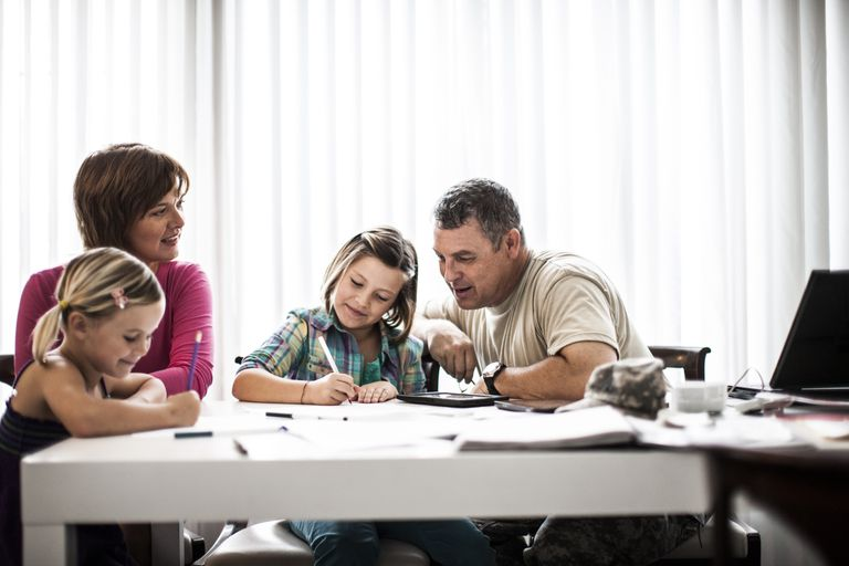 Mother and Father Help Daughters With Homework