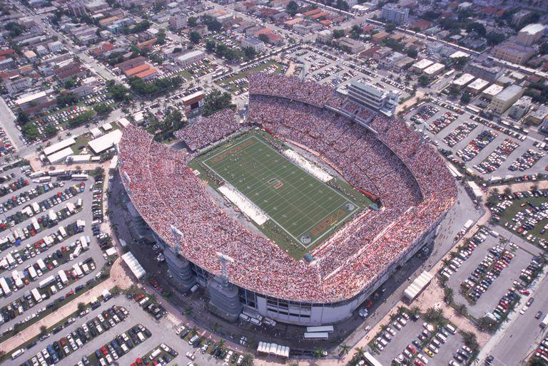 Open air Orange Bowl Stadium, site of 5 Super Bowls in Miami, Florida, Demolished in 2008