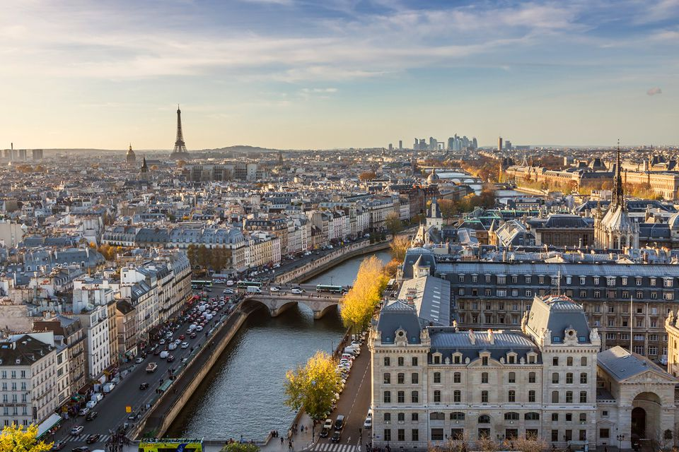 Aerial view of Paris on a sunny day