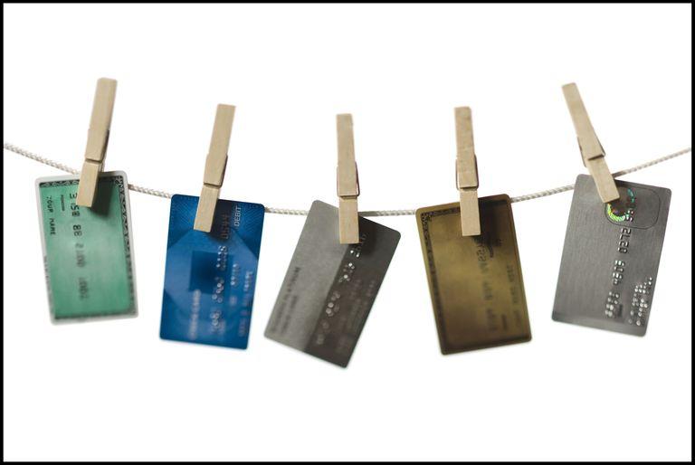 Credit cards hanging