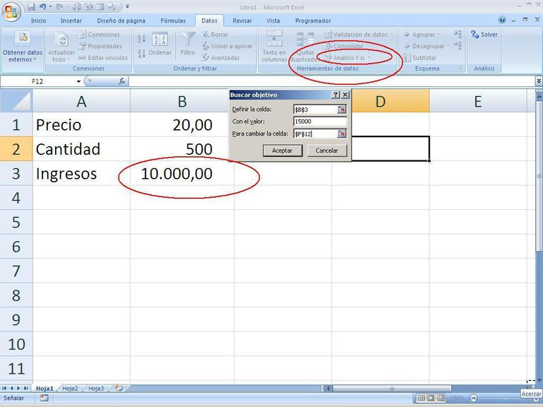 Buscar objetivo en Excel