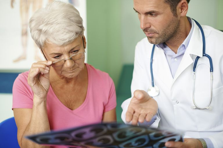 doctor talking with a patient about chest CT scan