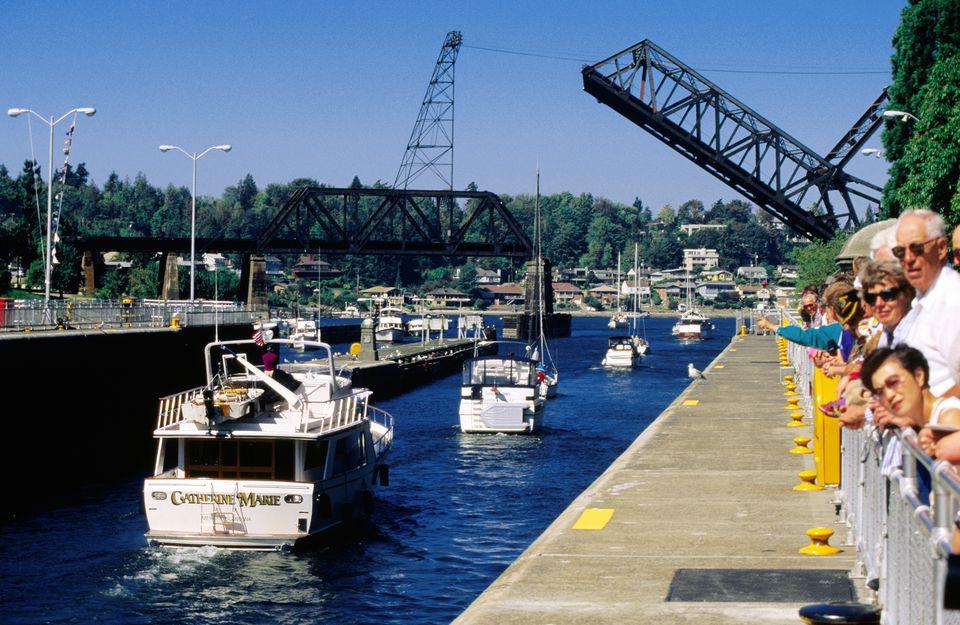 Onlookers at Hiram Chittenden Locks, Seattle, Washington