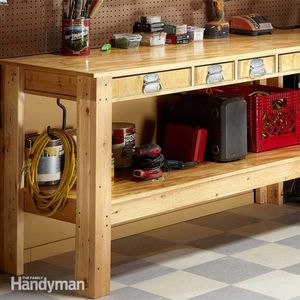 A Workbench With Lower Shelf And Drawers