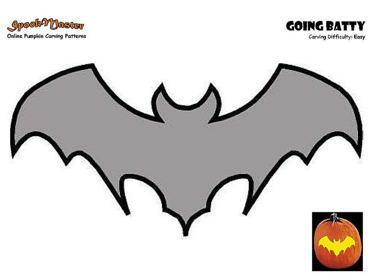 screenshot of a bat pumpkin carving template - Carving Templates Halloween Pumpkin