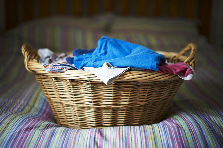 Filled laundry basket