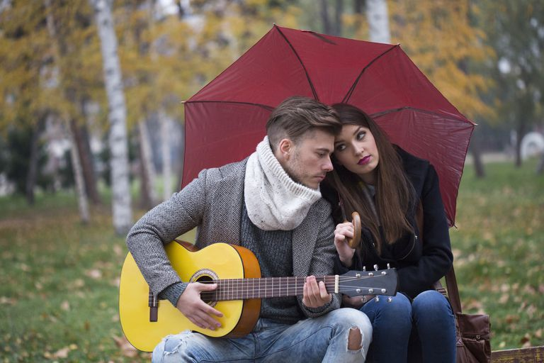 Couple in the Rain with Guitar
