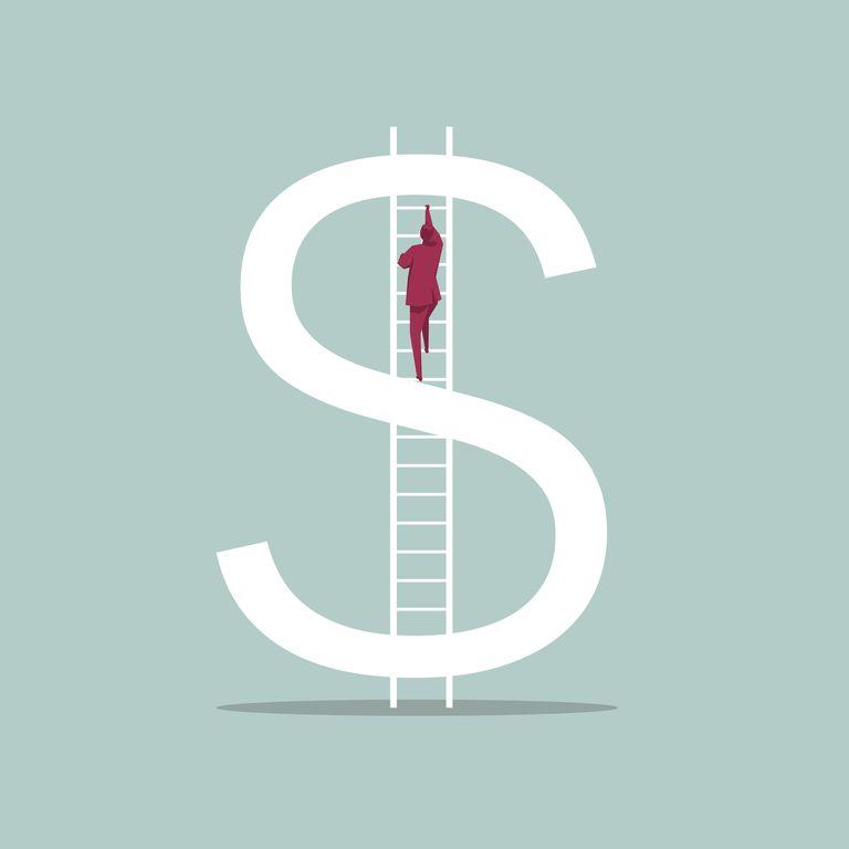 Man climbing ladder up dollar sign