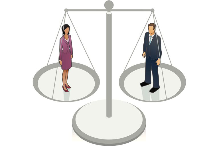 Woman and man on balance scales