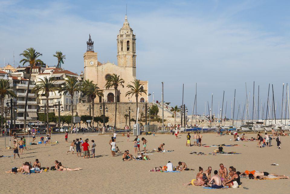 Sitges Spain Beach And Church