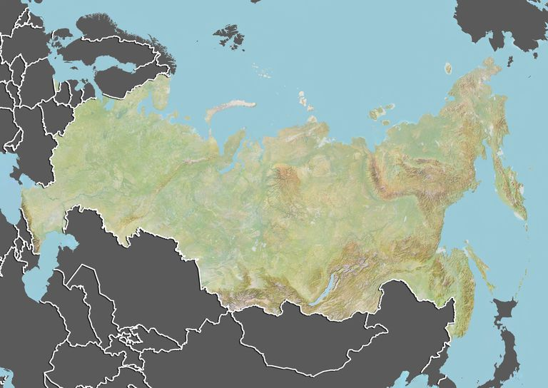Neighboring countries in geography russia relief map with border and mask sciox Images