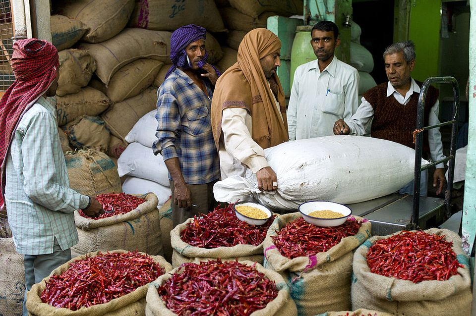 Red Chillies at Spice Market, Old Delhi, India
