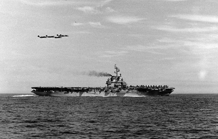 USS Lake Champlain (CV-39) at sea