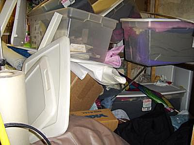 A mess of stored fabric