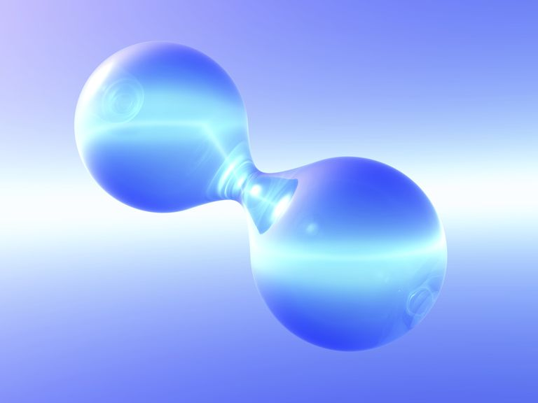 Nonmetal elements, like hydrogen and oxygen, form diatomic molecules. The atoms are connected via covalent chemical bonds.