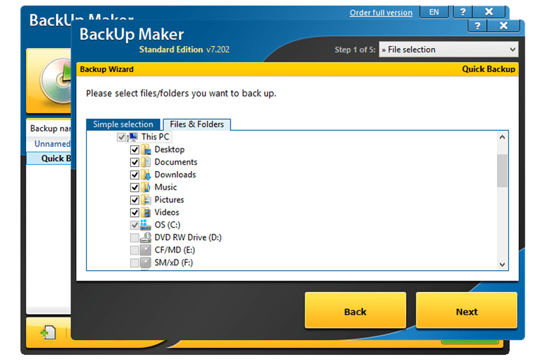 A screenshot of BackUp Maker v7 in Windows 8