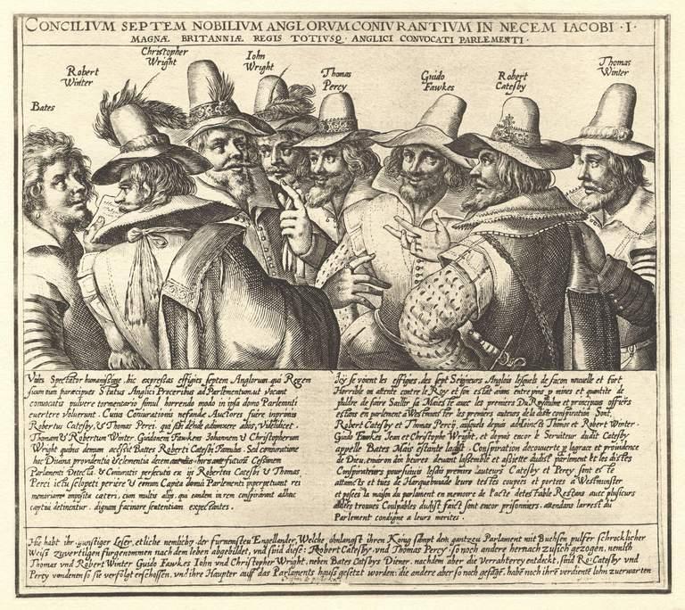 an illustration of the conspirators of the Gunpowder Plot