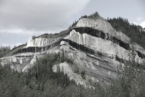 Sub-bituminous coal seams in Alaska outcropping.