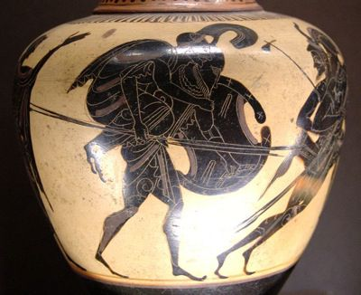 Aeneas carrying Anchises. Attic black-figure oinochoe, ca. 520–510 BC.