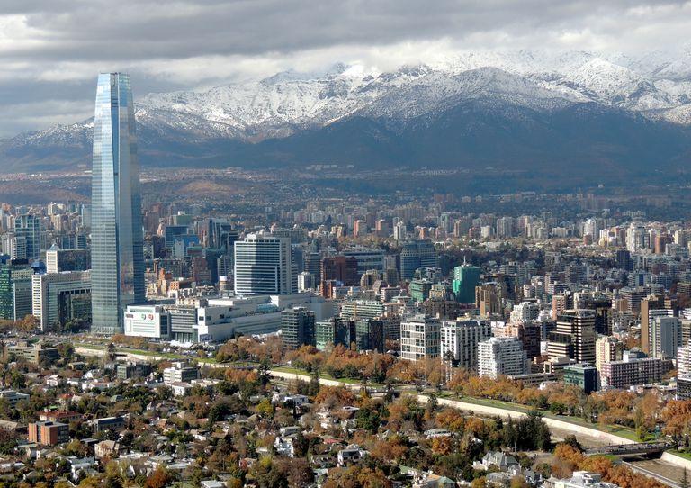 Clean wide city skyline of Santiago de Chile