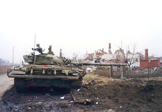 Destroyed Yugoslav National Army T-72 tank at Vukovar, 1991