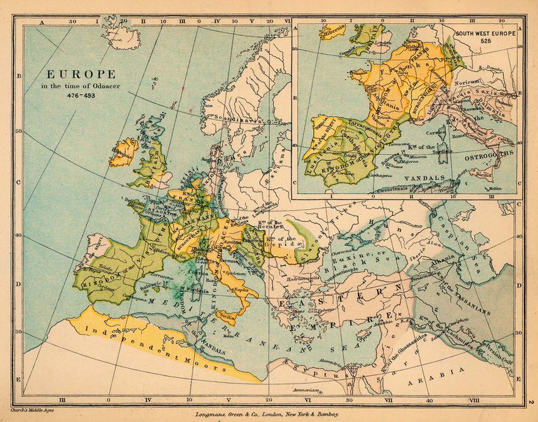 Europe in the time of Odoacer 476-493 A.D.