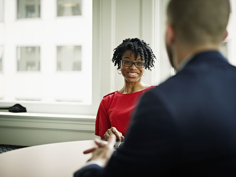 Woman at an interview