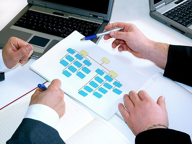 Employees look at the job titles and hierarchy on the organization chart.