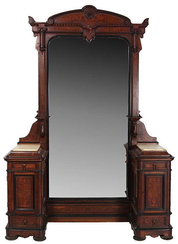 Herter Bros. Inlaid Marble Top Princess Dresser.